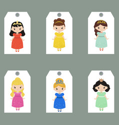 set of cute creative cards with princess theme vector image