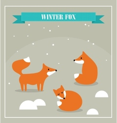 Set of cute little foxes in winter forest vector