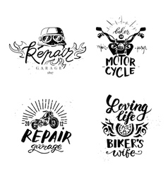 Set of vintage motorcycle emblems labels badges vector