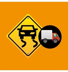 Slippery traffic sign concept vector