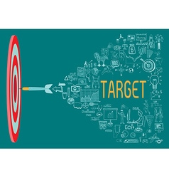 Target with doodles vector image vector image