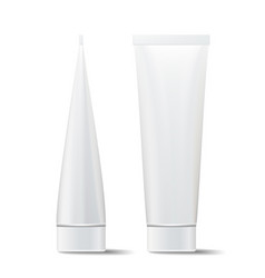 Tube mock up cosmetic white plastic tube vector