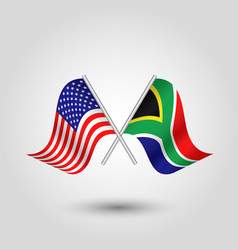 Two crossed american and african flags vector