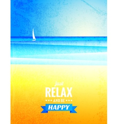 vintage poster with sea landscape vector image