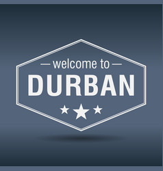 Welcome to durban hexagonal white vintage label vector