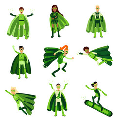 Young people in green eco superheroes costumes set vector