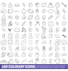 100 culinary icons set outline style vector