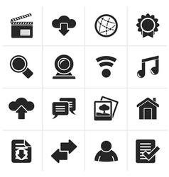 Black internet and website icons vector