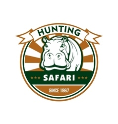 Hunting sport and african safari round badge vector
