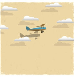 Retro airplane and clouds from paper vector image