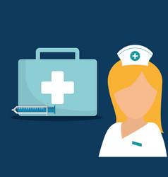 nurse kit first aid syringe medical vector image