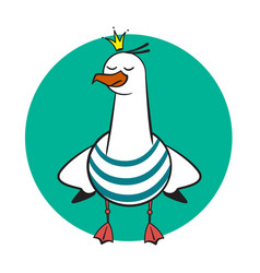 Funny cartoon seagull crowned vector