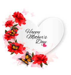 Happy mothers day note with colorful flowers and vector