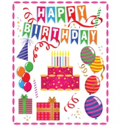 birthday ornaments vector image