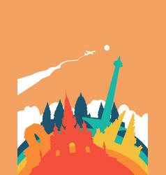 travel indonesia world landmark landscape vector image