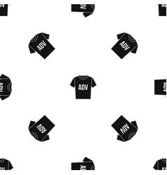 T-shirt with print adv pattern seamless black vector