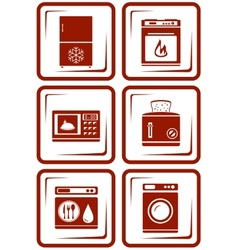 set home appliance icons vector image