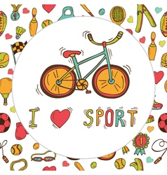 I love sport bicycle emblem hand drawn doodle vector