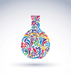 Colorful flower-patterned bottle alcohol and vector