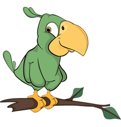 Green parrot cartoon vector