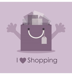 I love shopping gift bag vector