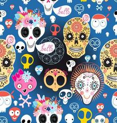 Bright festive pattern of funny skulls vector