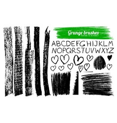 Set of grunge brushes and alphabet vector