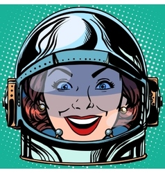 Emoticon joy smile emoji face woman astronaut vector