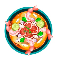 Tom yum goong or thai sour soup with shrimps vector