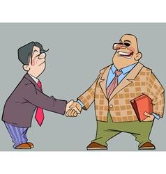 Cartoon men in suits shaking hands vector