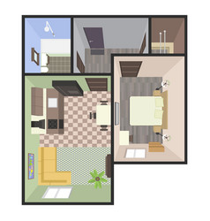 Architectural color floor plan bedrooms apartment vector