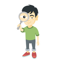asian boy looking through a magnifying glass vector image
