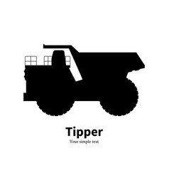 black silhouette dump truck vector image vector image