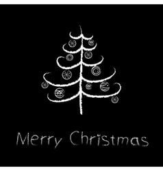 chalk christmas tree vector image vector image