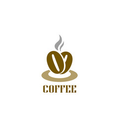 coffee logotype hot coffee beans logo cafe food vector image vector image