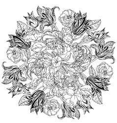 Contoured line flowers vector