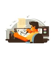 Designer draws vector image