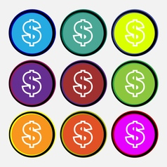 Dollar icon sign Nine multi colored round buttons vector image