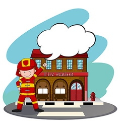 Firemen working at the fire station vector