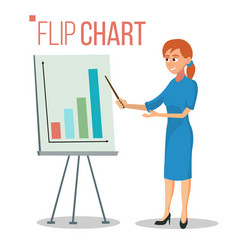 flip chart presentation concept woman vector image