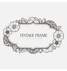 floral vintage frame Retro style graphic vector image vector image