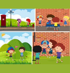 Four scenes of children playing different sports vector