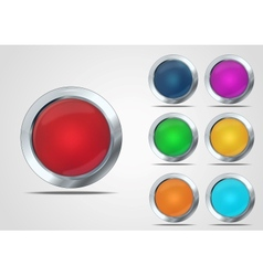 Glass button set vector image vector image