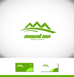 Green mountain logo tourism tourist icon vector image vector image
