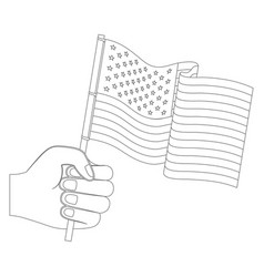hand holding waving flag monochrome silhouette vector image