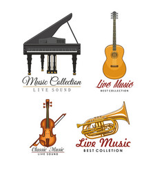 Icons set for music concert labels vector