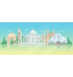 India architectural skyline poster vector