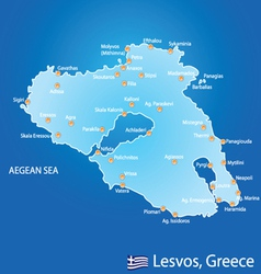 Island of Lesvos in Greece map vector image vector image