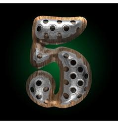 metal and wood figure 5 vector image