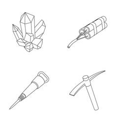 Minerals explosives jackhammer pickaxemining vector